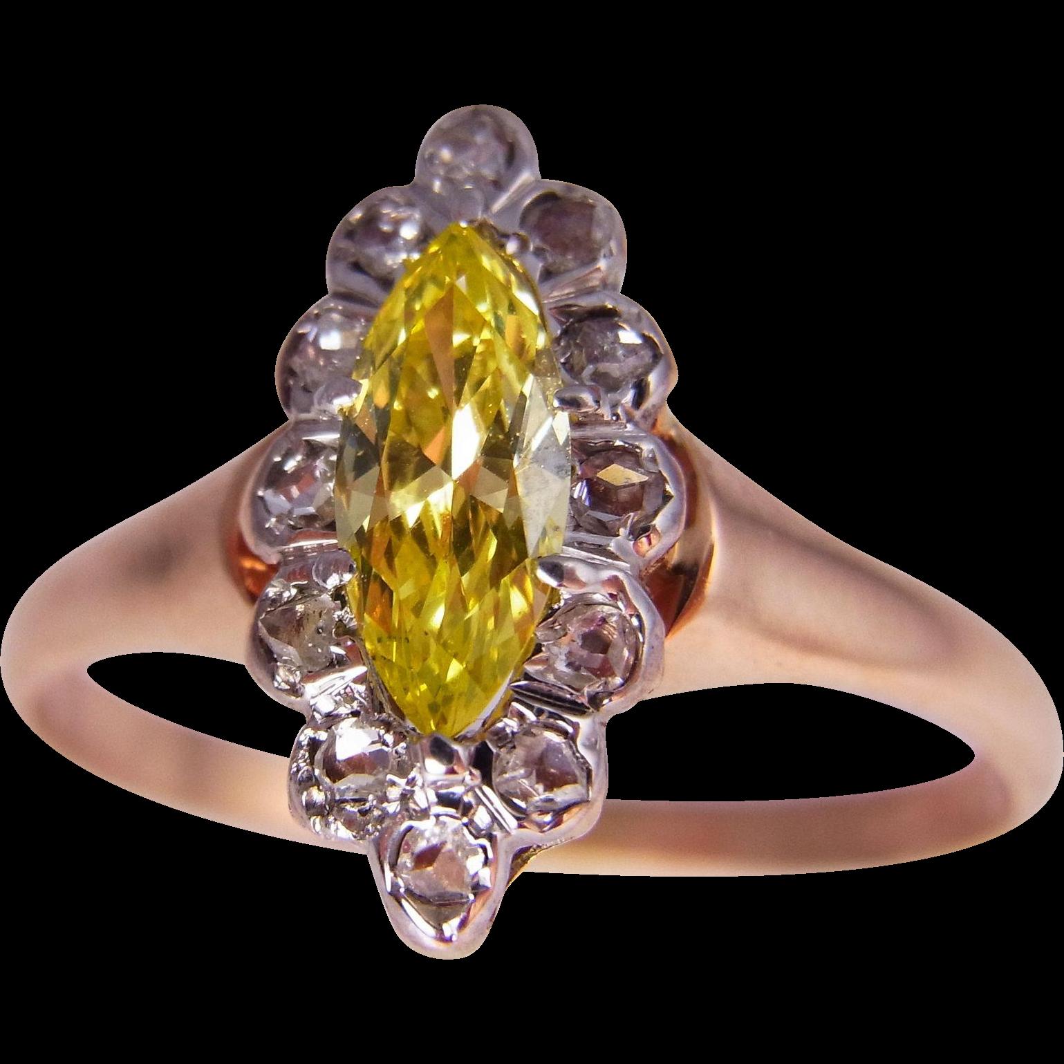Late Georgian Early Victorian Canary Diamond Engagement Ring Yellow Diamond  Engagement Ring Rose Cut Diamond Engagement Ring Antique Engagement Ring ...