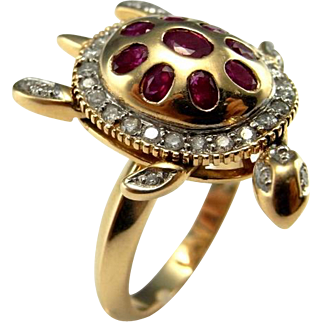 Sea Turtle Jewelry Turtle Ring Ruby Ring Kinetic Jewelry Diamond Ring Motion Ring Animal Ring Animal Jewelry 14K Gold Ring Ruby Ring Vintage Tortoise Ring Heirloom