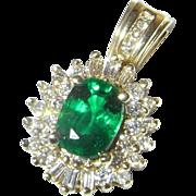 Tsavorite Pendant Tsavorite Garnet Tsavorite Jewelry Tsavorite Necklace Green Garnet Vivid Gem Vintage Diamond Pendant 14K Yellow Gold
