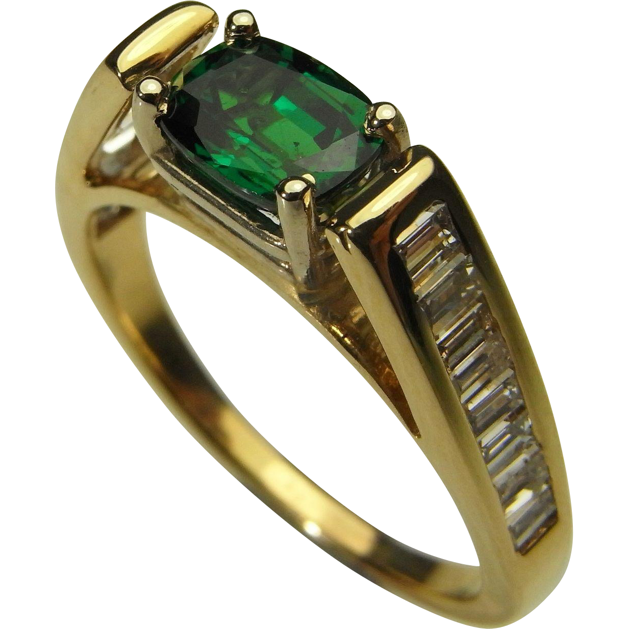 Gold Engagement Ring Wedding Color Dress Promise Anniversary Handmade Vintage Unique Pretty Dainty Solitaire Vivid Emerald Green