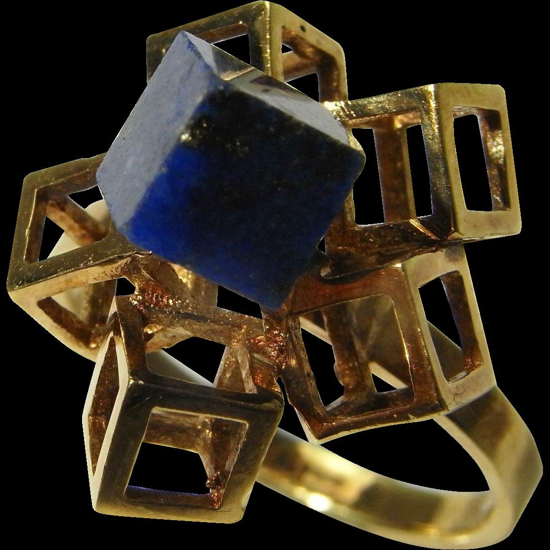 Modernist Lapis Gold Ring Minimalist Retro Mid Century ...