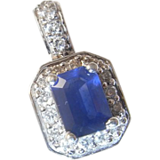 Blue Sapphire Diamond Pendant 14K Gold Diamond Halo Wedding Bridal Jewelry Dainty Pretty Drop Emerald Cut Cornflower Blue Ceylon Sapphire Vintage Estate Luxury High End Natural Sapphire Delicate