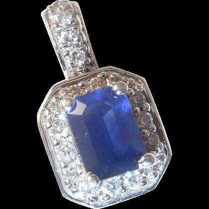 Blue sapphire diamond pendant 14k gold diamond halo wedding bridal blue sapphire diamond pendant 14k gold diamond halo wedding bridal the genuine article jewelry ruby lane aloadofball Gallery