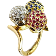 Rare En Tremblant Ring Ruby Sapphire Diamond Ring 1950s Cocktail Ring in 18K Yellow and White Gold Handmade One of a Kind Engagement Wedding Cocktail Anniversary Promise Unique Motion Kinetic Orbit Spinning Trembling Designer 1960s 1970s Handmade