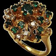 Emerald Diamond Ring Emerald Ring Emerald Cluster Ring Diamond Cluster Ring Starburst Ring 1950s Diamond Ring Dainty Diamond Ring 14K Gold Colombian Spray Ring Anniversary May Birthday Birthstone Jewelry 1950s Diamond Ring Pretty Dainty