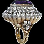 Georgian Diamond Ring 18th Century Amethyst Diamond Ring Marie Antoinette 18K Gold Old Cut Diamond Ring Museum Quality Luxury Diamond Ring Handmade Diamond Ring Dome Bombe 1700s Dress Ring Engagement Ring Wedding Ring Cocktail Ring Large Diamond Ring