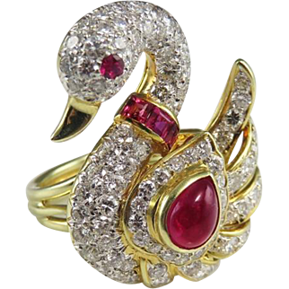 Swan Ring Swan Jewelry Ruby Cabochon Ring Natural Ruby Ring Cocktail Ring 80s Jewelry Ruby Diamond Ring Unique Engagement Ring 18K Gold Ring Wedding