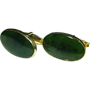 Art Deco Jade Gold Cufflinks Hetian Nephrite Spinach Green Natural Untreated Jade Fine Handmade 9K Gold Cuff Links 1920s 1930s 1940s Gem Jade Excellent Rare Anniversary Wedding Bridal Jewelry Classic