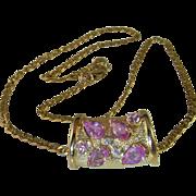 Pink Sapphire Diamond Pendant 14K Yellow Gold Pendant Pink Ruby Natural Sapphire Vivid Gem Luxury Jewelry Dainty Pretty Anniversary Fine High End Modernist Minimalist Wedding Bridal Jewelry Fancy Sapphire