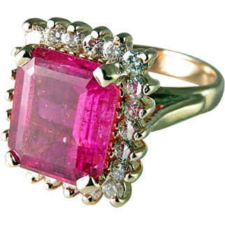 STUNNING Natural Deep Pink Tourmaline Diamond Engagement Ring Statement Art Deco Engagement Ring 1940s Engagement Ring Rubellite Ring Emerald Cut Engagement Ring Emerald Cut Ring Wedding Ring Anniversary Ring Heirloom Luxury Jewelry