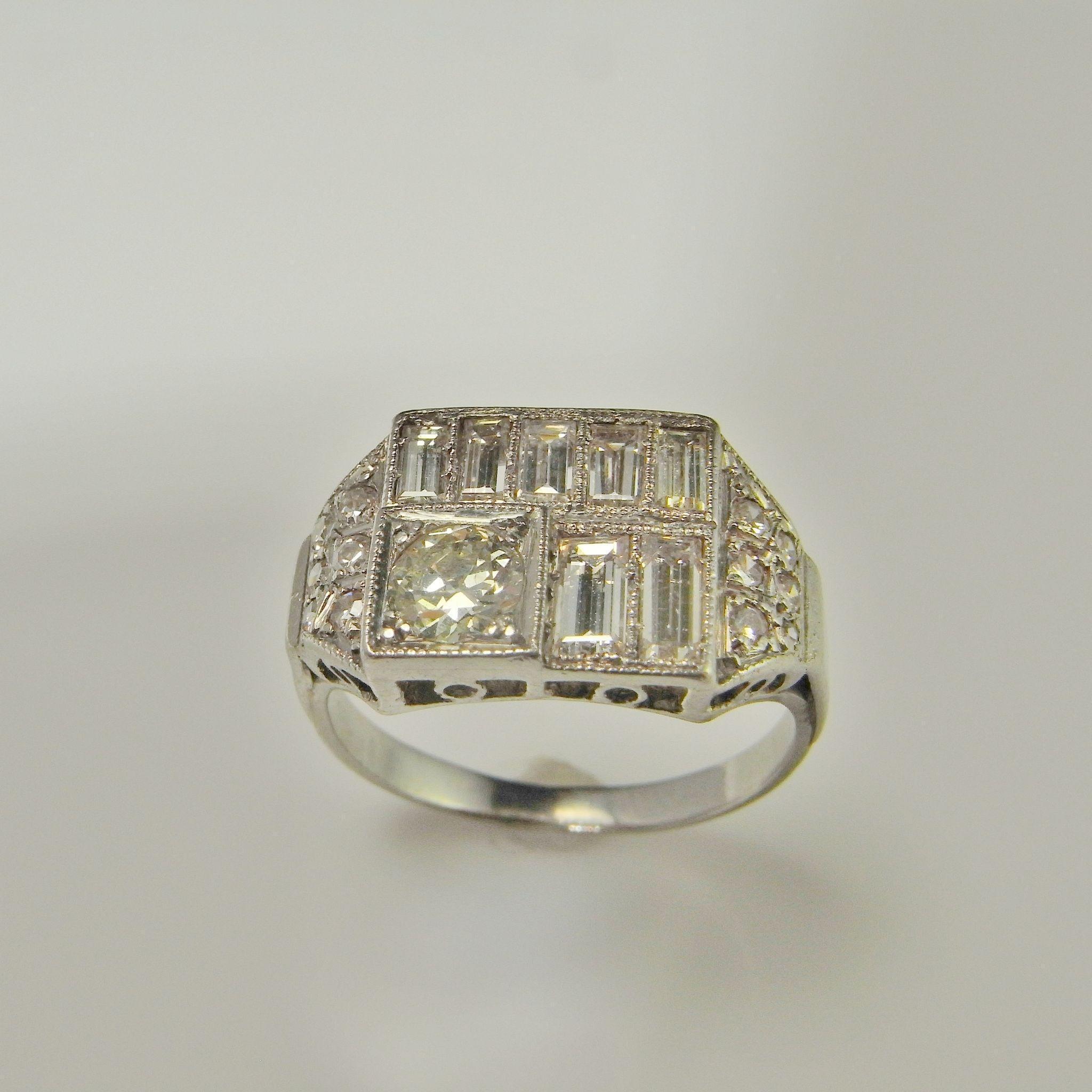 Diamond Engagement Ring Art Deco Engagement Band Wedding Ring