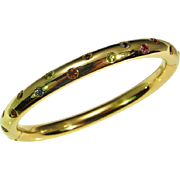 Gem Set Gold Bangle Hinged Bangle Cuff Bangle Bracelet 14K Gold Designer Handmade Modernist Topaz Peridot Amethyst Garnet Citrine Sparkly Luxury Anniversary Gift Jewelry Bridal Wedding Heirloom High End Luxury Pretty Classic Timeless