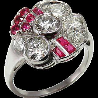 Ruby Art Deco Engagement Ring Art Deco Diamond Engagement Ring Ruby Engagement Ring Art Deco Platinum Ring Floral Engagement Ring 1920s Engagement Ring 1930s 1940s Gatsby Wedding Antique Edwardian Old European Cut OEC Old Mine Handmade One of a Kind