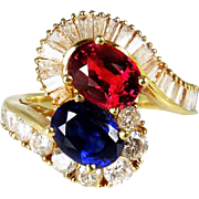 Moi et Toi Bypass Ring Vivid Gem Sapphire Ruby Wedding Ring Natural Sapphire Natural Ruby Engagement Ring Wedding Ring Wedding Band Unique