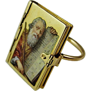 French Empire Georgian Enamel Miniature Holy Bible Ring circa 1810 in 18K Gold French Hand Made Enamel Ring Proverbs 31 Antique Wedding Band
