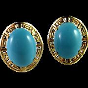Turquoise Earrings 14K Gold Earrings Natural Turquoise Cabochon Earrings Turquoise Button Earrings Vintage Earrings Vivid Gem Vintage Blue