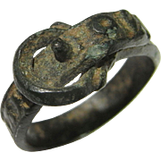 """Bronze Ancient Ring Medieval Middle Ages Ring Museum Quality 14th Century Religious Bronze Buckle Ring """"Mater Dei Mamanto"""" Inscribed Inscription Religious Jewelry Amulet Exceptional Extreme Rare"""