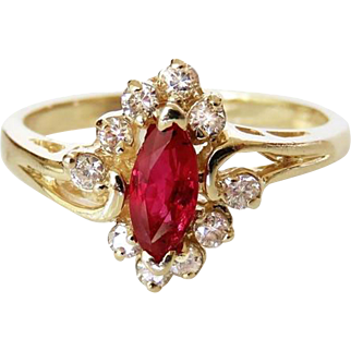 Pretty VIVID GEM Ruby Diamond Ring Ruby Diamond Band 1970s Jewelry Marquise Engagement Ring Cluster Engagement Ring Natural Ruby Ring Dainty Ring 14K Ruby Anniversary Mid Century Heirloom 1950s 1960s 1970s