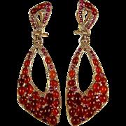 Ruby Earrings Pink Sapphire Earrings Diamond Earrings Cabochon Earrings Statement Earrings Red Earrings 14K Gold Earrings Drop Earrings 585