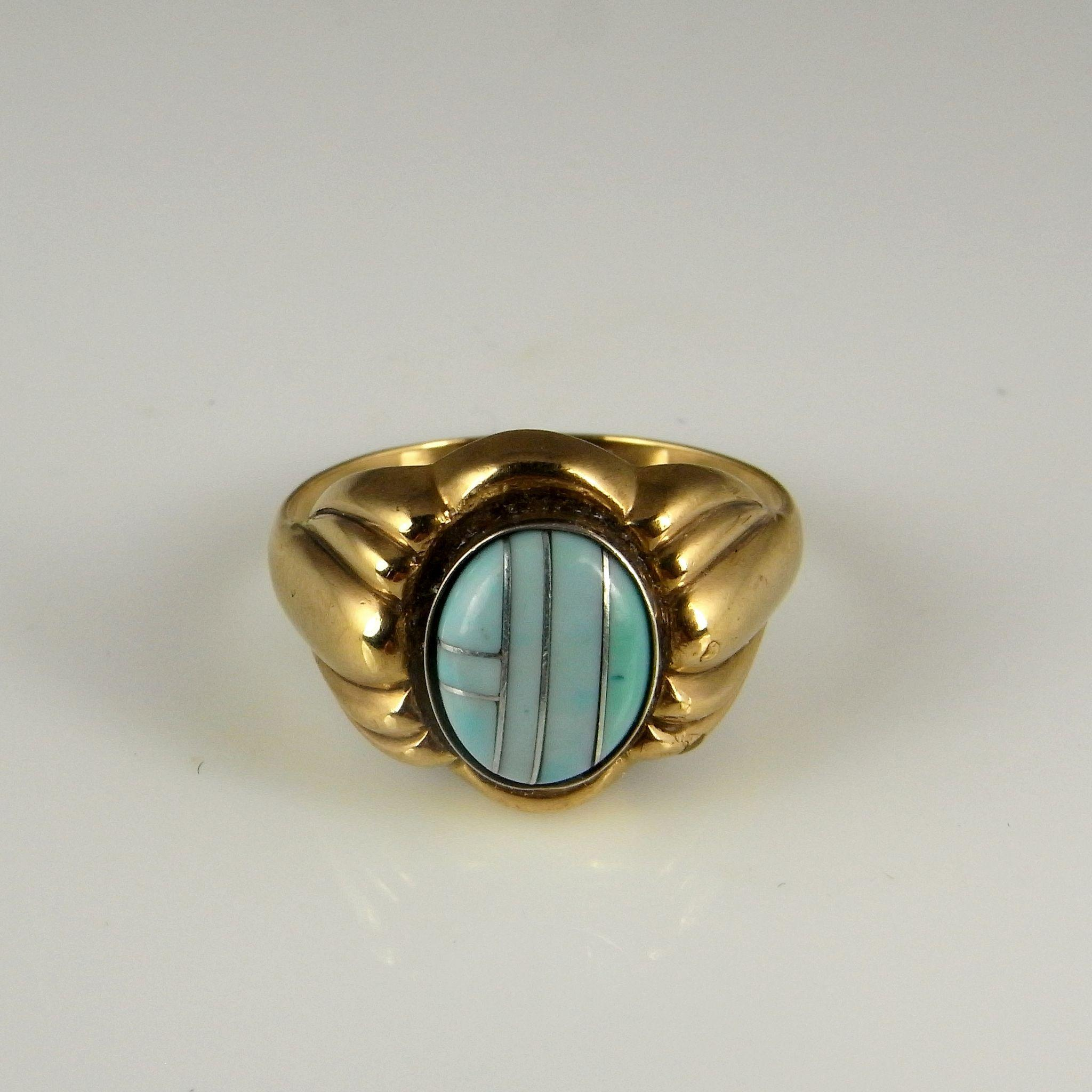 Antique Turquoise Ring Art Deco Gold Ring 1930s Ring Art