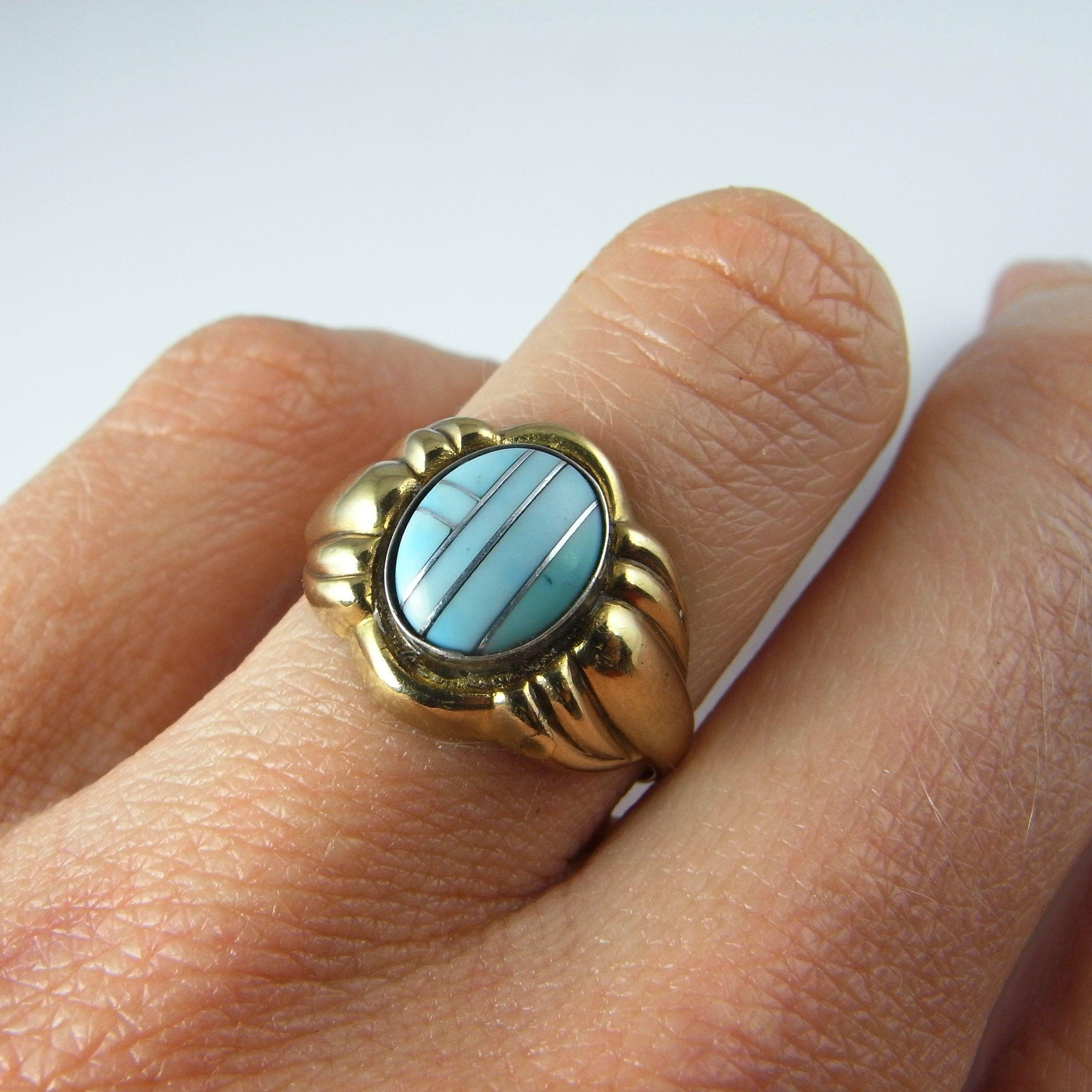 Antique Turquoise Ring Art Deco Gold Ring 1930s Ring Art Deco