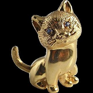 Cheeky Pretty 14K Gold Cat Brooch Cat Jewelry Animal Jewelry Panther Jewelry Retro Brooch Handmade Brooch Natural Blue Sapphire Brooch Dainty Brooch Jewelry Mid Century Anniversary