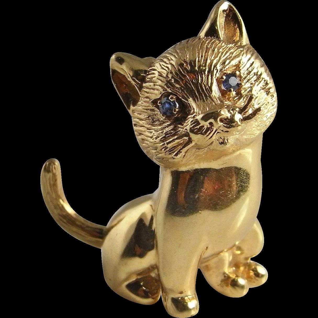 Cheeky Pretty 14k Gold Cat Brooch Cat Jewelry Animal