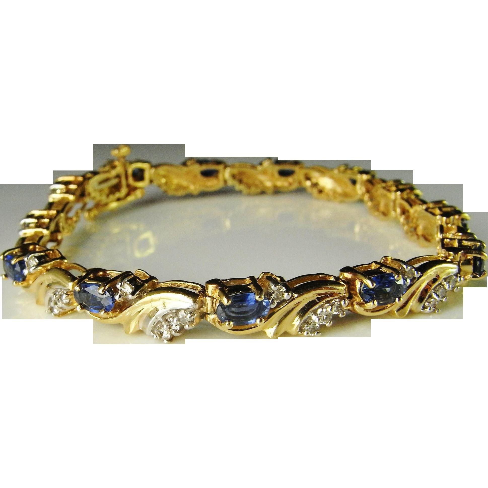 Sapphire Tennis Bracelet Diamond Sapphire Leaf Bracelet