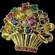 Art Deco Brooch Art Deco Pendant Flower Jewelry Antique Sapphire Brooch Pin Pendant Pink Blue 18K Gold Diamond Brooch Chrysoberyl Cats Eye