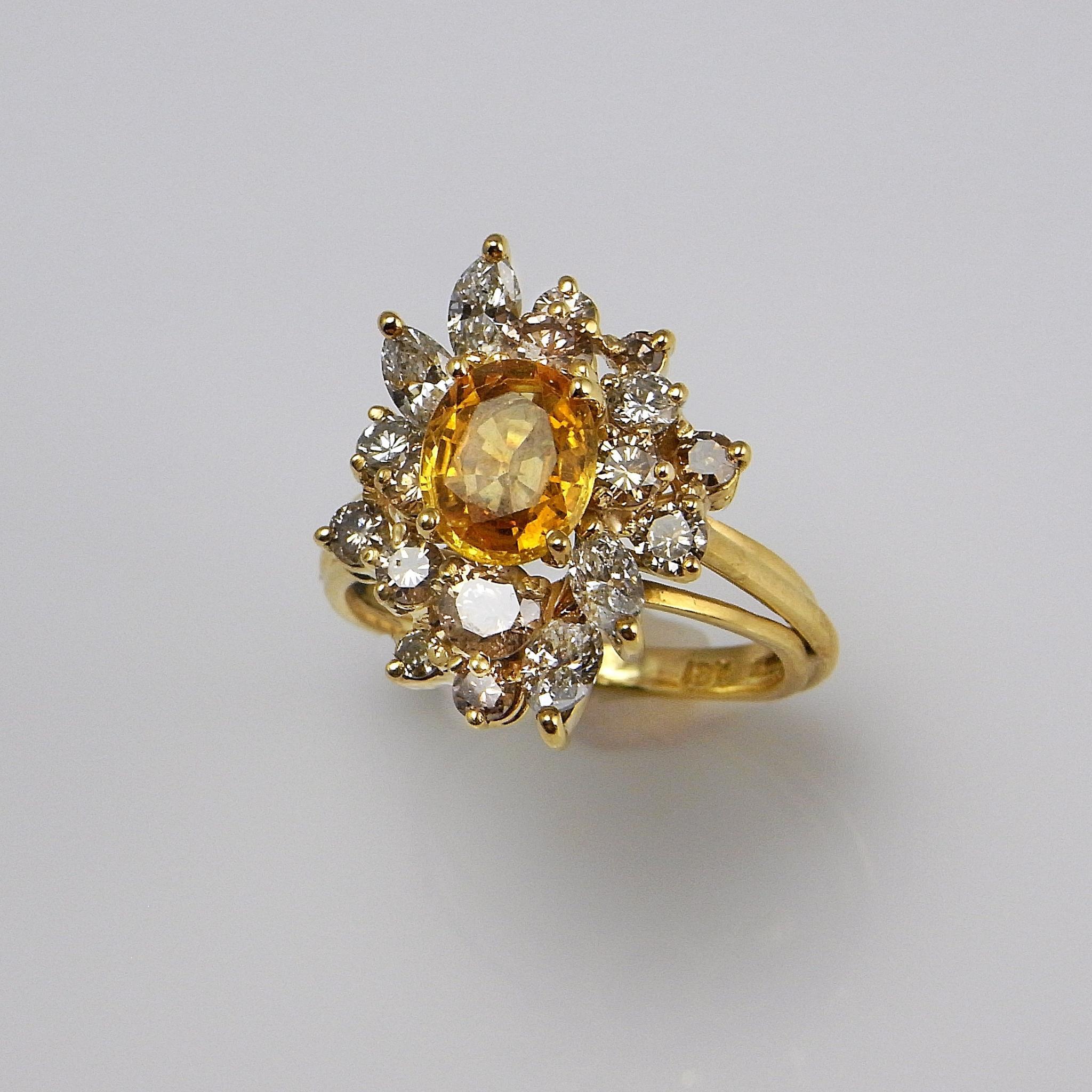yellow sapphire champagne diamond ring sapphire diamond