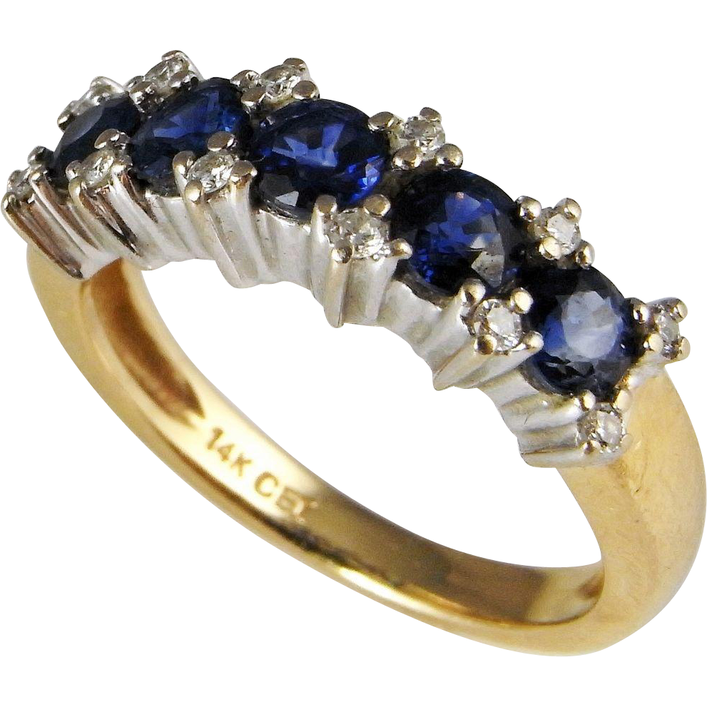 Sapphire Diamond Band Sapphire Diamond Engagement Ring Vintage Wedding from t
