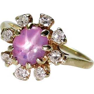 Pink Star Sapphire Diamond Ring Star Ruby Ring 14K Gold Art Deco Engagement Ring Sapphire Unheated Ruby Antique Engagement Ring 1930s 1920s
