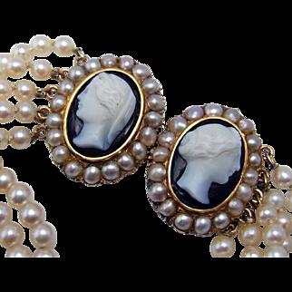 Gatsby Jewelry Antique Pearl Bracelet Diamond Bracelet Old Cut Diamond European OEC Hardstone Cameo Onyx Art Deco Bracelet Jewelry 1920s 1930s 1940s 20s 30s 40s Downton Abbey Handmade One of a Kind Dainty Delicate 14K Gold Sentimental Heirloom