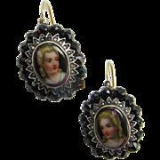 Bohemian Garnet Victorian Earrings Miniature Portrait Antique Pearl Earrings Seed Pearl Earrings Gold Earrings Antique Enamel Jewelry