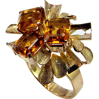 Natural Madeira Citrine 14K Gold Ring Modernist Ring Late 1940s 1950s Color Engagement Ring Cocktail Ring Emerald Cut Floral Flower Cluster Unique Mid Century Late Art Deco Unique Gold Statement Ring