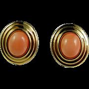 Italian Coral Earrings Italian Gold Earrings 14K Gold Earrings Coral Jewelry Stud Earrings Cabochon Earrings Pink Coral Earrings Stud Dainty