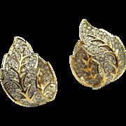 3 Carats CTW Diamond Earrings Leaf Earrings Wedding Earrings Wedding Jewelry Bridal Earrings Bridal Jewelry Pave Huggie 14K Gold Statement Luxury Heirloom Vintage Mid Century Retro Estate
