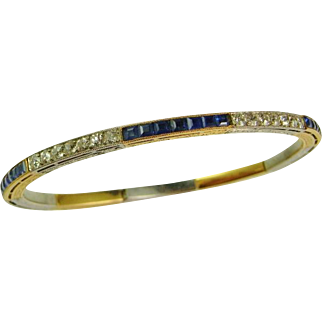Art Deco Kashmir Sapphire Diamond Bracelet Diamond Bangle Art Deco Jewelry 1920s Jewelry Vivid Gem Natural Blue Sapphire Untreated Vivid Gem 1930s Heirloom Wedding Bridal Downton Abbey Great Gatsby Bangle Line Bracelet Hand Engraved