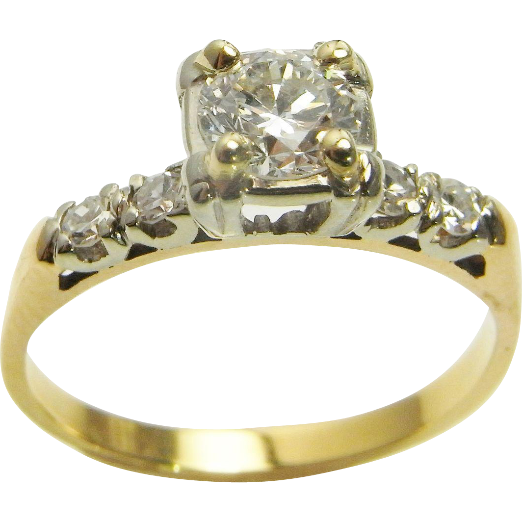 Art Deco Diamond Engagement Ring VS Handmade 14K Gold Wedding Ring From Thege