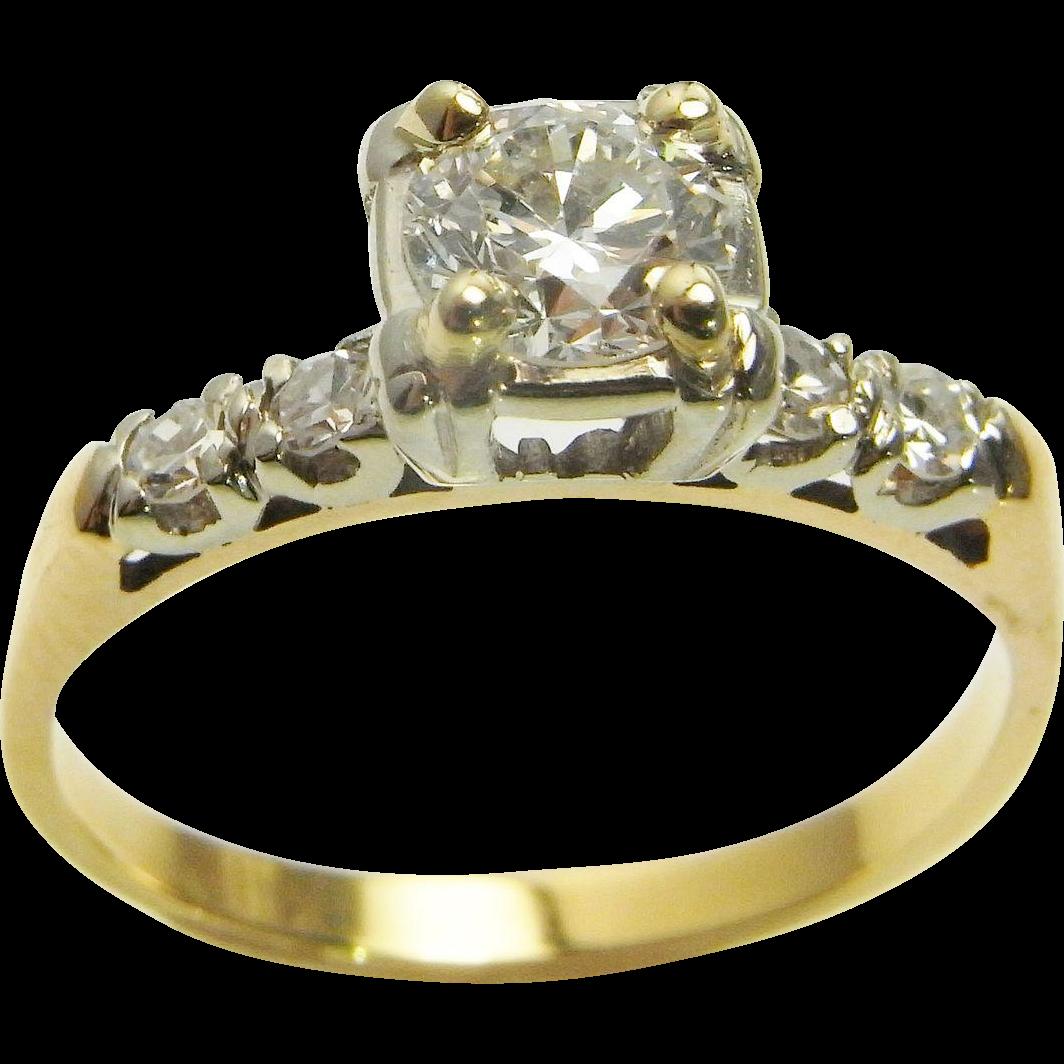 Art Deco Diamond Engagement Ring VS Handmade 14K Gold Wedding Ring From Thege
