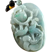 Natural Jade Pendant Necklace Jadeite Antique Jade Jewelry Jadeite Jewelry Jadeite Pendant Pebble Jewelry Antique Chinese Jewelry Unisex Qing Dynasty Flower Bird Amulet Auspicious Hand Carved Antique Cameo