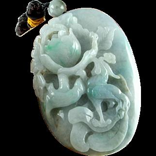 Natural Jade Pendant Necklace Jadeite Antique Jade Jewelry Jadeite Jewelry Jadeite Pendant Pebble Jewelry Antique Chinese Jewelry Unisex Qing Dynasty Flower Bird Amulet Auspicious Hand Carved Antique Cameo