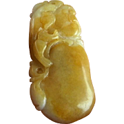 Qing Yellow Jadeite Pendant Jadeite Jade Pendant Natural Jade Pendant Dragon Pendant Cameo Pendant Antique Chinese Jewelry Hand Carved Cameo Hand Carved Chi Tiger Ruyi Pear