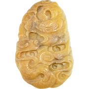 Dragon Pendant Yellow Jade Necklace Jadeite Pendant Antique Jade Jewelry Jade Pendant Necklace Pebble Jewelry Jade Carving Chinese Jade jade Carving Statue Ornament Auspicious Lucky Jade Amulet Antique 19th Century Victorian