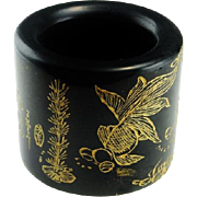 Qing Dynasty Mens Thumb Ring Archers Ring Nephrite Jade Ring Antique Jade Ring Antique Mens Ring Natural Jade Signet Ring Mens Jewelry Gold Leaf Inscription Artisan Hand Carved