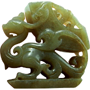 Antique Jade Chinese Jade Nephrite Jade Dragon Sculpture Small Sculpture Qing Dynasty Jade Sculpture Dragon Ornament Lucky Charm