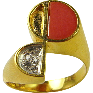Italian Red Coral Gold Ring 14K Gold Modernist Ring Mid Century Ring Diamond Cocktail Ring Unique Diamond Ring 1970s Jewelry Minimalist Ring Red Coral Dress One of a Kind Natural Coral 1950s 1960s Signet Cocktail Unisex Handmade Natural Coral