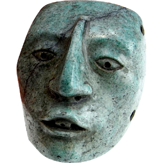 Pre Columbian Mayan Maskette Mayan Statue Mayan Pendant Mayan Jewelry Hardstone Mask Cameo Pre Georgian Post Olmec Ancient Jewelry Pectoral Antiquities Ancient Artifacts Mask