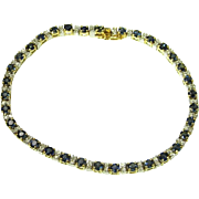 Blue Sapphire Bracelet Dainty Bracelet Diamond Bracelet Bridal Jewelry Vintage Tennis Bracelet Wedding Jewelry Pear Sapphire Fine Jewelry Vintage Delicate Mid Century Modernist Minimalist Anniversary Gift Heirloom Jewelry