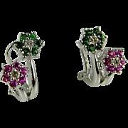 Dainty Diamond Earrings Ruby Diamond Earrings Ruby Earrings Diamond Studs Emerald Diamond Earrings Emerald Earrings 14K Gold Earrings Vivid